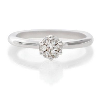 9ct White Gold 25Pt Diamond Invisible Set Ring, P