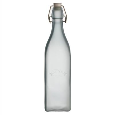Kilner Frosted Clip Top Preserving Bottle, Drink and Condiment Storage, 1 Litre (Blue)