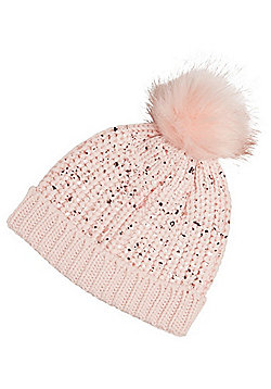F&F Foil Splatter Knitted Bobble Hat - Pink