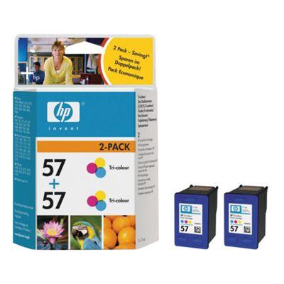 HP 57  Printer Ink Cartridge Twin Pack (C9503AE)- Tri-Colour