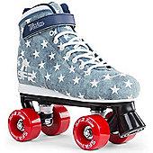 SFR Vision Canvas Kids Quad Roller Skates - Blue Jeans - Blue