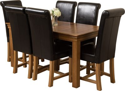 French Chateau Rustic Solid Oak 150 cm Dining Table with 6 Black Washington Leather Chairs