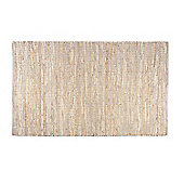 Homescapes Madras Leather Hemp Rug Natural, 90 x 150 cm