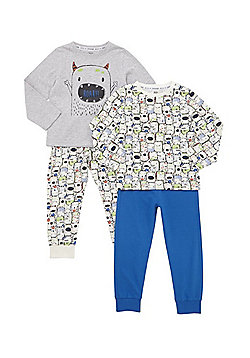 F&F 2 Pack of Happy Monster Pyjamas - Multi