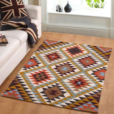 Homescapes Oslo Handwoven Orange, Brown and Yellow Multi Coloured 100% Cotton Diamond Pattern Rug, 120 x 170 cm
