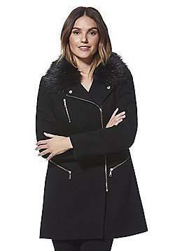 F&F Faux Fur Collar Twill Biker Coat - Black