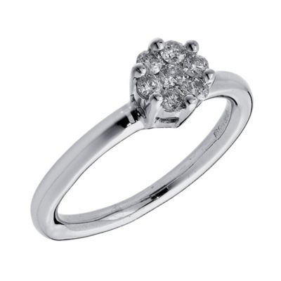 9ct White Gold 1/4ct Diamond Invisible Set Ring, N