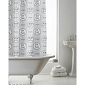 Country Club Shower Curtain Grey Text 180 x 180cm