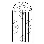 Wrought Iron Style Metal Scroll Tall Bow Top Side Garden Gate 107cm GAP x 190cm HIGH