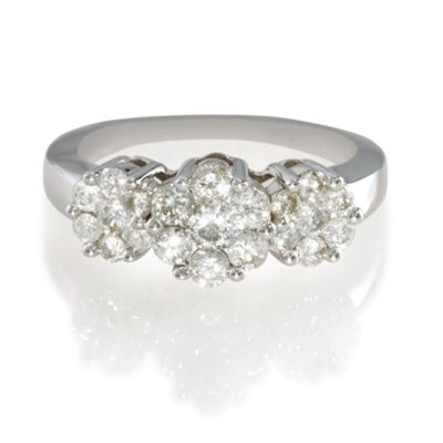 9ct White Gold 1ct Diamond Invisible Set Ring, N