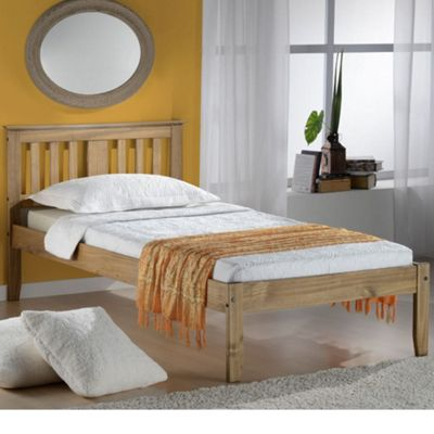 Happy Beds Salvador Wood Low Foot End Bed with Pocket Spring Mattress - Pine - 3ft Single