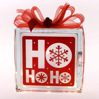 Christmas, Ho Ho Ho Light Up Glass Box