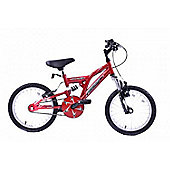 "Ammaco Phazer 18"" Wheel Boys Bike 6 Speed Dual Suspension Red"
