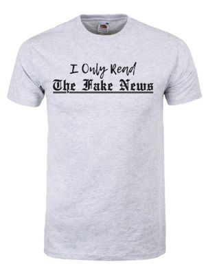 I Only Read Fake News Men's Grey T-Shirt