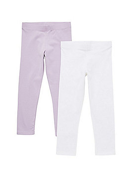 F&F 2 Pack of Cropped Leggings - Purple