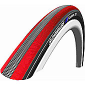Schwalbe Lugano Tyre: 700c x 23mm Red Stripes Wired. HS 384, 23-622, Active Line, Kevlar Guard