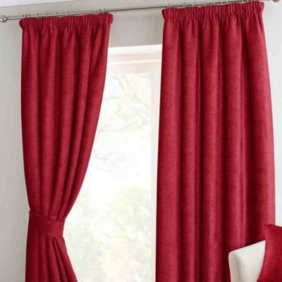 Homescapes Wine Chenille Pencil Pleat Lined Curtain Pair, 90 x 90