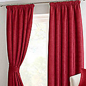 """Homescapes Wine Chenille Pencil Pleat Lined Curtain Pair, 90 x 90"""""""