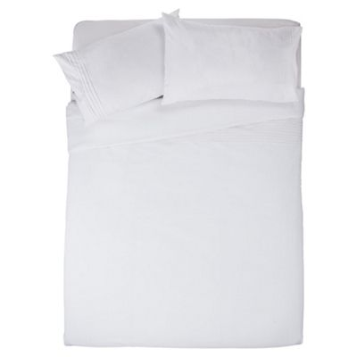 Tesco Pintuck Double Duvet Cover Set, White