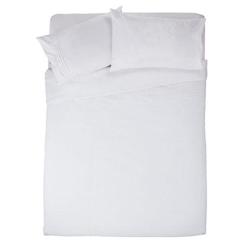 Tesco Pintuck Double Duvet Cover Set, White