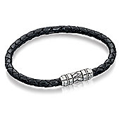 Fred Bennett Black Leather Bracelet with Detailed Clasp