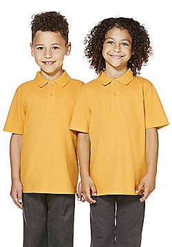 "F&F School 2 Pack of Boys Teflon EcoElite""™ Polo Shirts with As New Technology - Gold"