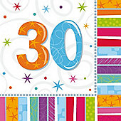 30th Birthday Radiant Luncheon Napkins - 2ply Paper - 16 Pack