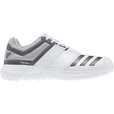 adidas adiPower Vector Mens Adult Cricket Trainer Spike Shoe White/Grey - UK 7.5