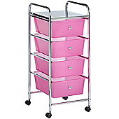 VonHaus 4 Drawer Pink Mobile Storage Trolley