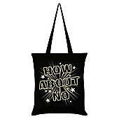 How About No Tote Bag Black 38x42cm