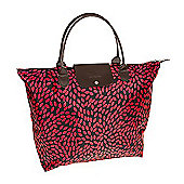 Black and Red Leaf Fold Up Large Shopping Bag
