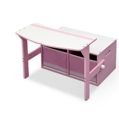 Delta Children Toy Storage Bench/Desk - Pink and White