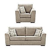 Boston Armchair + 3 Seater Sofa Set, Taupe