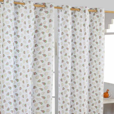 Homescapes Paisley and Dots Ready Made Eyelet Curtain Pair, 137 x 182 cm Drop