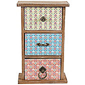Quirky - Mini Chest Of 3 Storage Drawers / Jewellery Box - Yellow / Pink / Blue