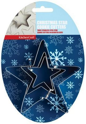 Set of three Christmas Star Cookie Cutters