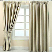"Homescapes Cream Jacquard Curtain Modern Striped Design Fully Lined - 66"" X 90"" Drop"