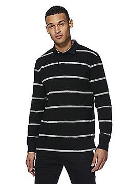 F&F Striped Long Sleeve Rugby Shirt - Black