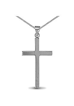 Jewelco London Sterling Silver solid stamped Cross Cross Pendant - 18 inch Chain