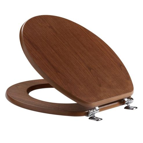 Tavistock Millennium WALNUT Wood Veneer Toilet Seat with Chrome Hinges and Non-slip Buffers