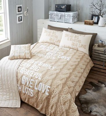 Designer Knit Double Natural Bed In A Bag 5 Piece Duvet Cover Pillow Case Cushion Cover Runner Set