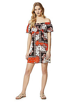 F&F Paisley Print Bardot Summer Dress - Orange & Multi