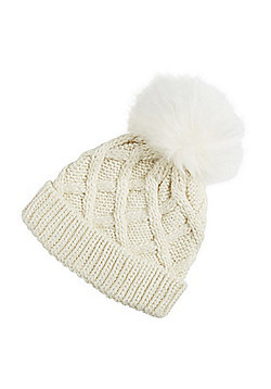 F&F Sparkle Cable Knit Bobble Hat - Cream