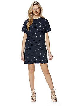 Vila Metallic Rectangle Print Tunic Dress - Navy