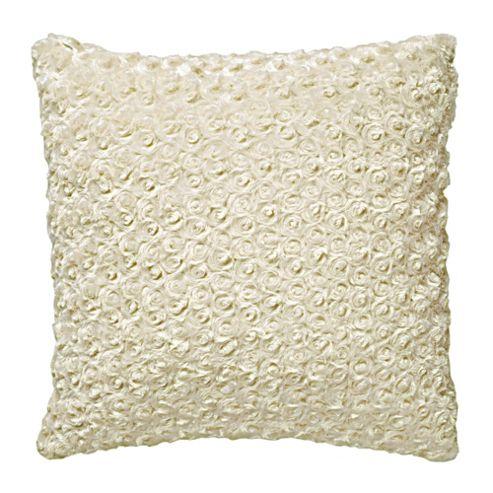 F&F Home Rose Faux Fur Cushion, Cream
