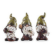 Birch, Flint & Forest the Seed Collecting Trio of Garden Gnome Ornaments