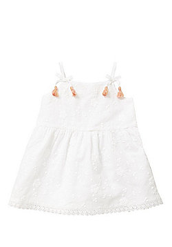 F&F Embroidered Tassel Dress - White