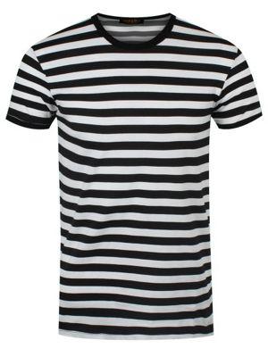 Black and Striped White Men's T-shirt