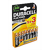 8 x Duracell AAA MN2400 Plus Power Batteries