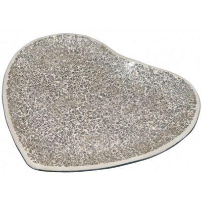 29.5cm Mercury Mosaic HeartCandle Plate